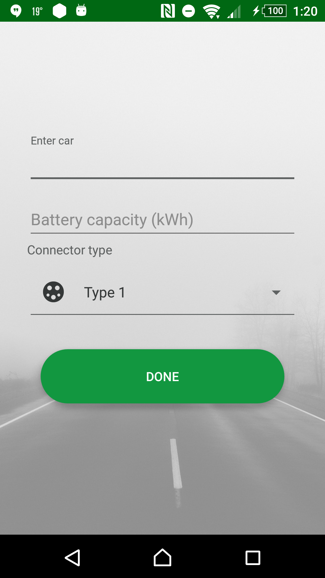 Select your car, battery capacity and type of connector